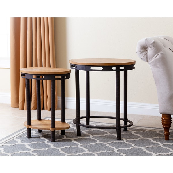Abbyson Northwood Industrial End Table (Set Of 2)