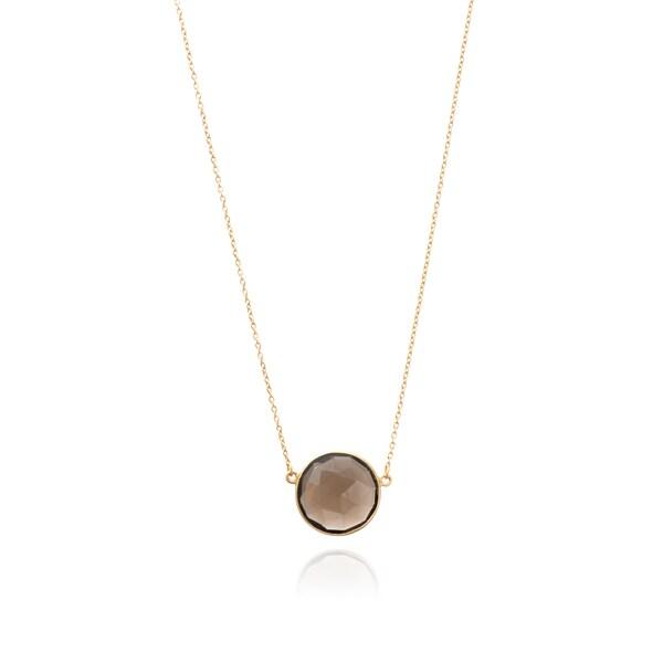 5565a82b8f185c Shop Gold Overlay Smokey Quartz Round Gemstone Necklace - Free ...
