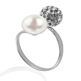 GIG Jewels Sterling Silver White Freshwater Pearl and Crystal Gemstones Ball Stretchable Ring