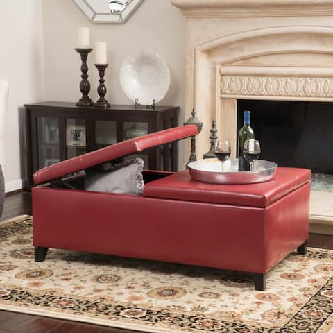 Alfred Faux Leather Medium Storage Ottoman Bench by Christopher Knight Home