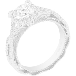 Verragio 18k White Gold 1/3ct TDW Diamond and Cubic Zirconia Center Engagement Ring (F-G, VS1-VS2)