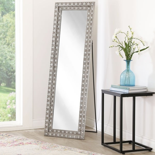 Shop Abbyson Melania Floor Mirror Silver On Sale