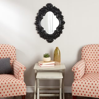Abbyson Belvedere Black Resin Wall Mirror