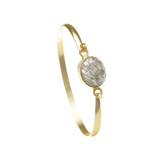 Alchemy Jewelry Ethical Luxury Handmade Tourmalated Quartz Gemstone Bangle with Gold Overlay and Adjustable Clasp