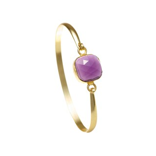 Alchemy Jewelry Ethical Luxury Handmade Amethyst Gemstone Bangle with Gold Overlay and Adjustable Clasp