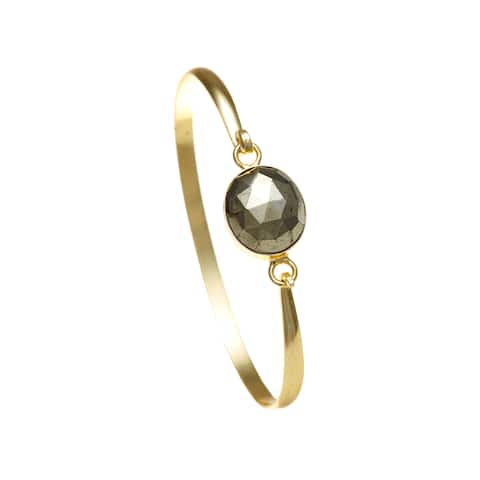 Alchemy Jewelry Ethical Luxury Handmade Pyrite Gemstone Bangle with Gold Overlay and Adjustable Clasp