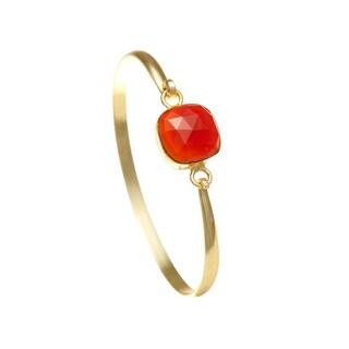 Alchemy Jewelry Ethical Luxury Handmade Carnelian Gemstone Bangle with Gold Overlay and Adjustable Clasp