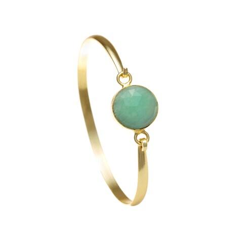 Alchemy Jewelry Ethical Luxury Handmade Amazonite Quartz Gemstone Bangle with Gold Overlay and Adjustable Clasp