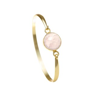 Alchemy Jewelry Ethical Luxury Handmade Rose Quartz Gemstone Bangle with Gold Overlay and Adjustable Clasp