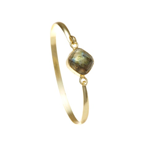 Alchemy Jewelry Ethical Luxury Handmade Labradorite Gemstone Bangle with Gold Overlay and Adjustable Clasp