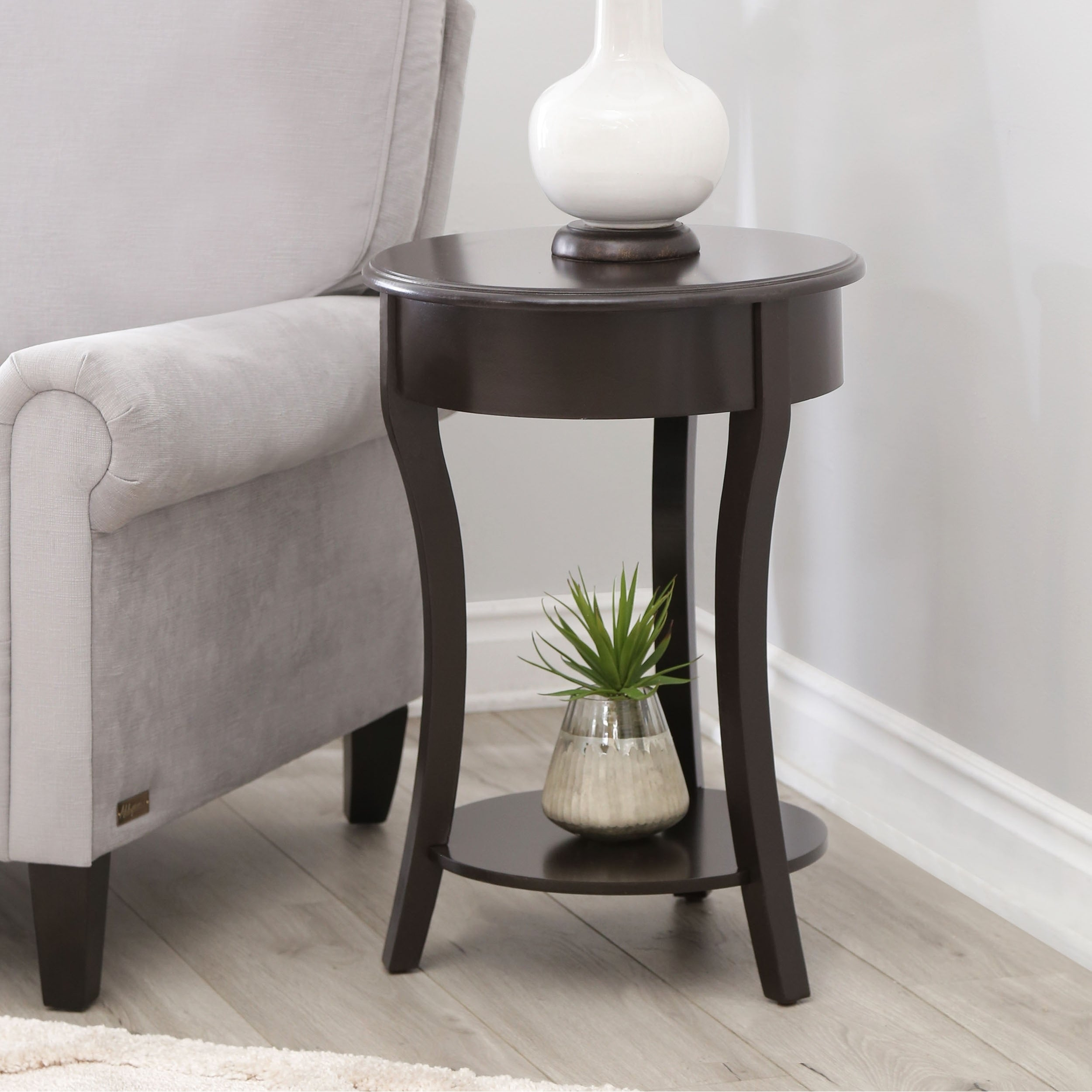 Abbyson Taylor Espresso Wood Round End Table