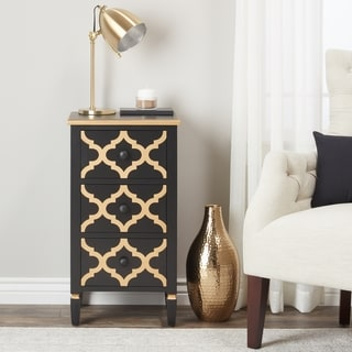 Abbyson Shia 3-drawer Black and Gold Side Storage Table