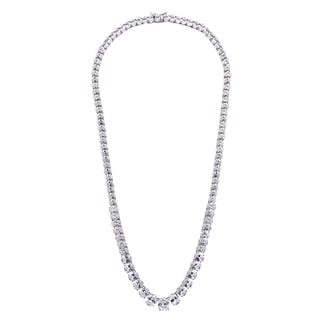 Oval Shape Clear CZ Silver Necklace