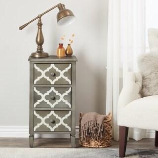 Abbyson Shia 3-drawer Grey and White Storage Table