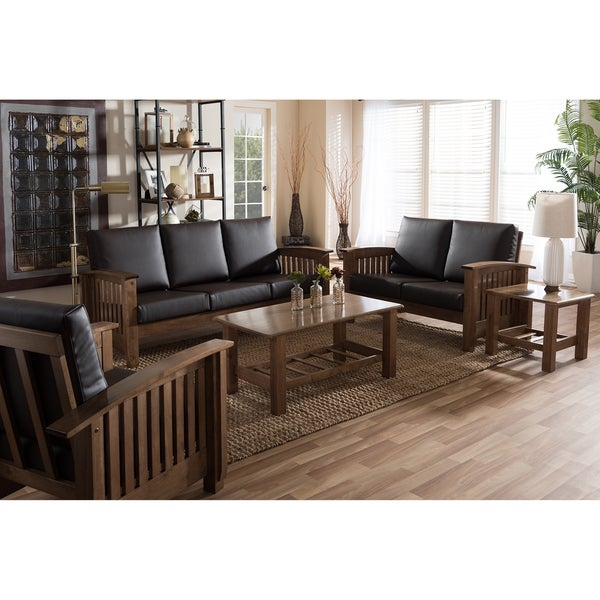 mission living room set shop baxton studio callidora mission brown faux 13325