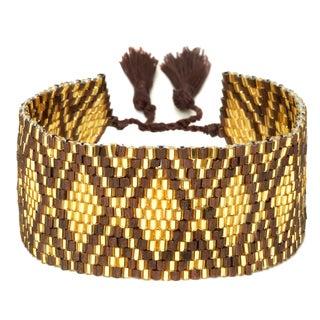 Gold and Brown Adjustable Beaded Cuff