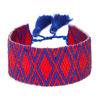 Red and Blue Adjustable Beaded Cuff