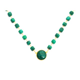 Gold Overlay Raw Emerald Chunky Gemstone Necklace