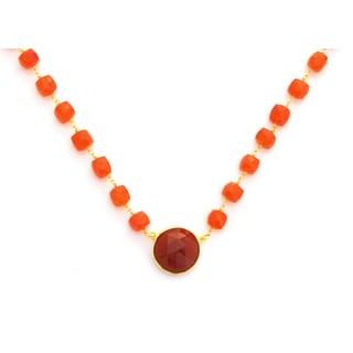 Gold Overlay Carnelian Chunky Gemstone Necklace