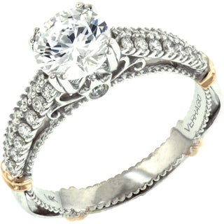 Verragio 14k Two-tone Gold 1/3ct TDW Diamond and Cubic Zirconia Center Engagement Ring (G-H, SI1-SI2)