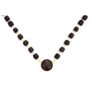 Gold Overlay Smokey Quartz Chunky Gemstone Necklace