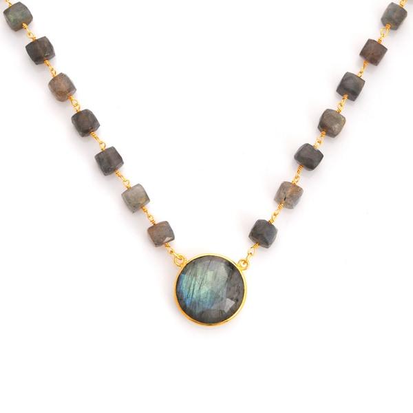 Gold Overlay Labradorite Chunky Gemstone Necklace