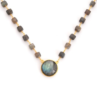Gold Overlay Labradorite Chunky Gemstone Necklace