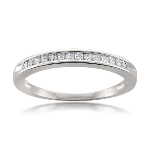 Montebello 14k White Gold 1/4ct TDW White Diamond Wedding Band