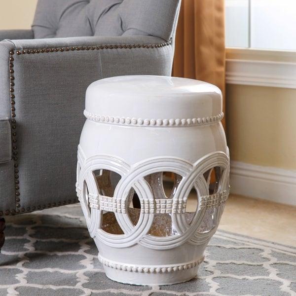 Shop Abbyson Whitney White Ceramic Oversized Garden Stool