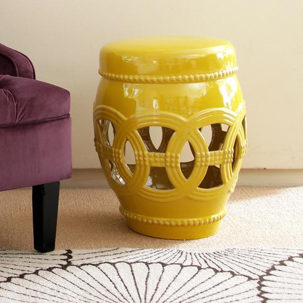 Abbyson Whitney Yellow Ceramic Oversized Garden Stool Free