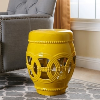 Beautiful Abbyson Whitney Yellow Ceramic Oversized Garden Stool