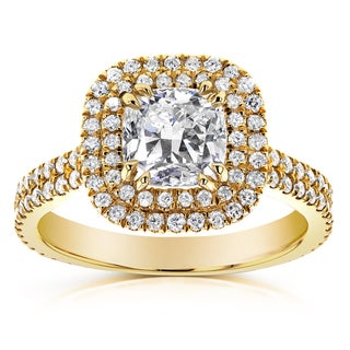 Annello by Kobelli 14k Yellow Gold 1 3/4ct TDW Diamond Double Halo Cushion Cut Engagement Ring