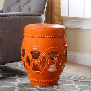 Abbyson Whitney Orange Ceramic Oversized Garden Stool