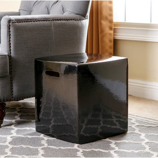 ABBYSON LIVING Palmer Black Ceramic Garden Stool