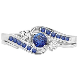Elora 10k White Gold 1/2ct TDW Diamond and Blue Sapphire Swirl Bridal Engagement Ring Matching Band Set (H