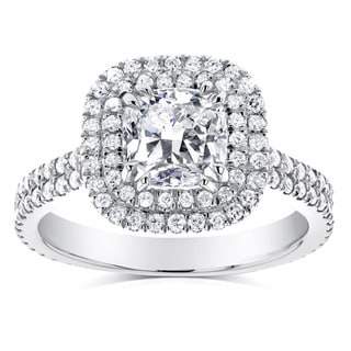 Annello by Kobelli 14k White Gold 1 3/4ct TDW Diamond Double Halo Cushion Cut Engagement Ring