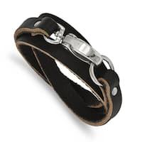 Versil Stainless Steel Black Leather Wrap Bracelet