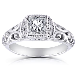 Annello by Kobelli 14k White Gold 3/4ct TDW Diamond Antique Engagement Ring (H-I, I1-I2)