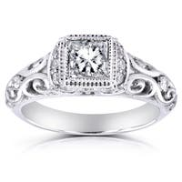 Annello by Kobelli 14k White Gold 3/4ct TDW Diamond Antique Engagement Ring