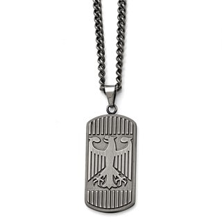 Versil Stainless Steel Antiqued Brushed Eagle Necklace