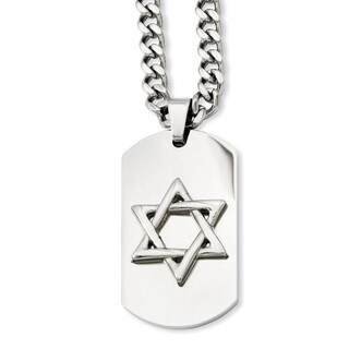 Versil Stainless Steel Star of David Dog Tag Pendant Necklace