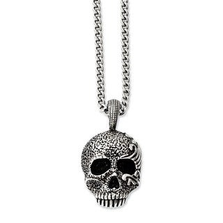 Versil Stainless Steel Antiqued and Textured Skull 24-inch Necklace