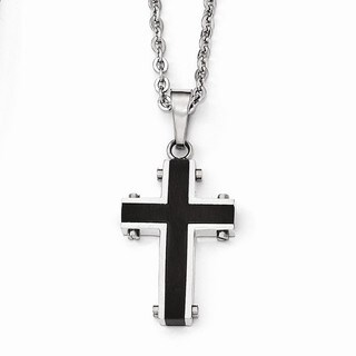 Versil Stainless Steel Polished Black Cross Necklace
