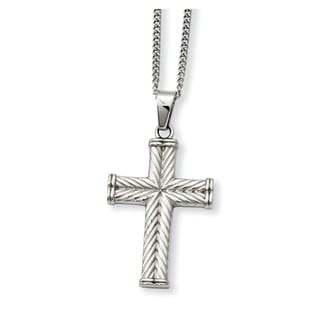 Versil Stainless Steel Fancy Textured Cross Pendant Necklace
