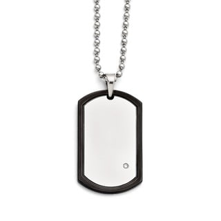 Versil Stainless Steel Black With Cubic Zirconia Dog Tag Polished Necklace