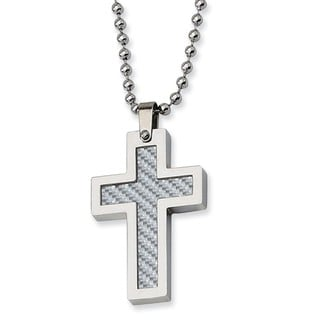 Versil Stainless Steel Grey Carbon Fiber Cross 22-inch Necklace
