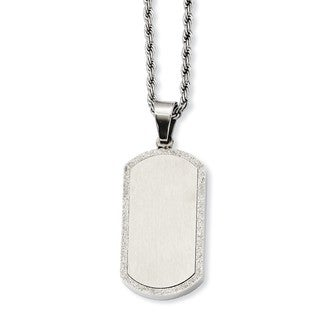 Versil Stainless Steel Laser Cut Dog Tag Pendant Necklace