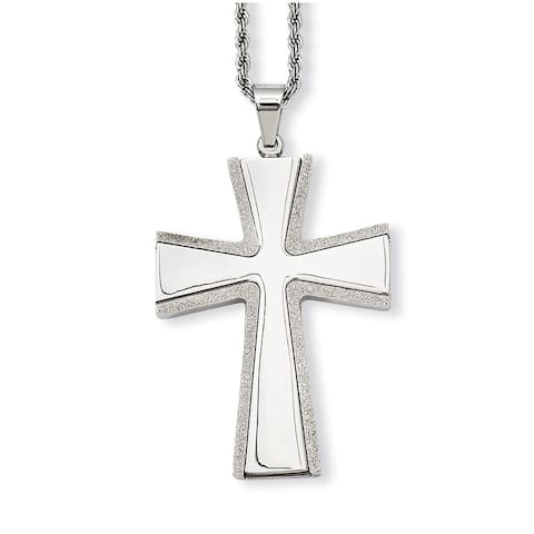 Chisel Stainless Steel Brushed Cross Pendant 24-inch Necklace