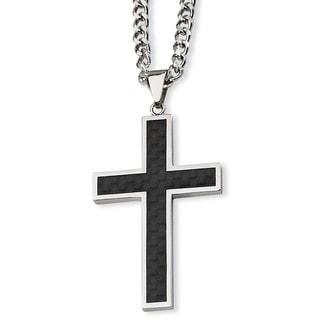 Versil Stainless Steel Carbon Fiber Cross Necklace