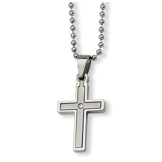 Versil Stainless Steel Diamond Accent Cross Necklace